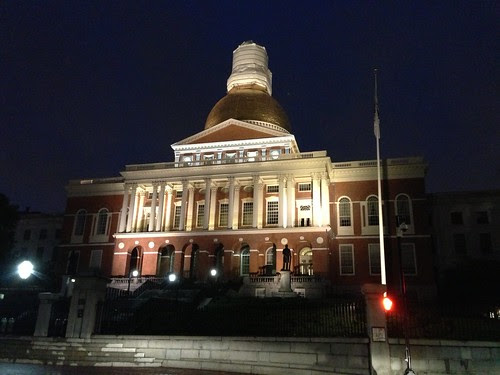 Massachusetts State House at night