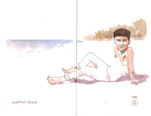 a kid in the beach