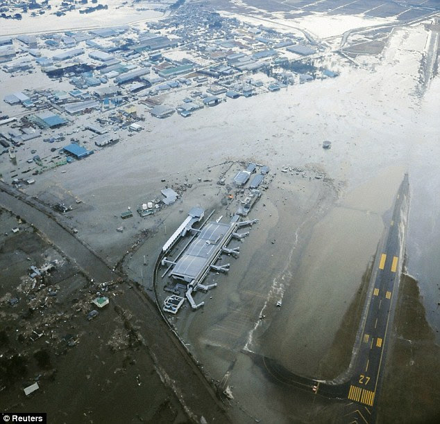 Closed: Sendia Airport in north-east Japan was one of the first places to be swamped by the tsunami that raced inland following the quake