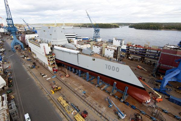 The USS Zumwalt undergoes construction at the Bath Iron Works shipyard in Maine.