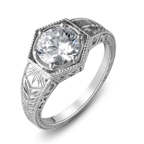 14K White Gold Antique Hand Engraved Engagement Ring