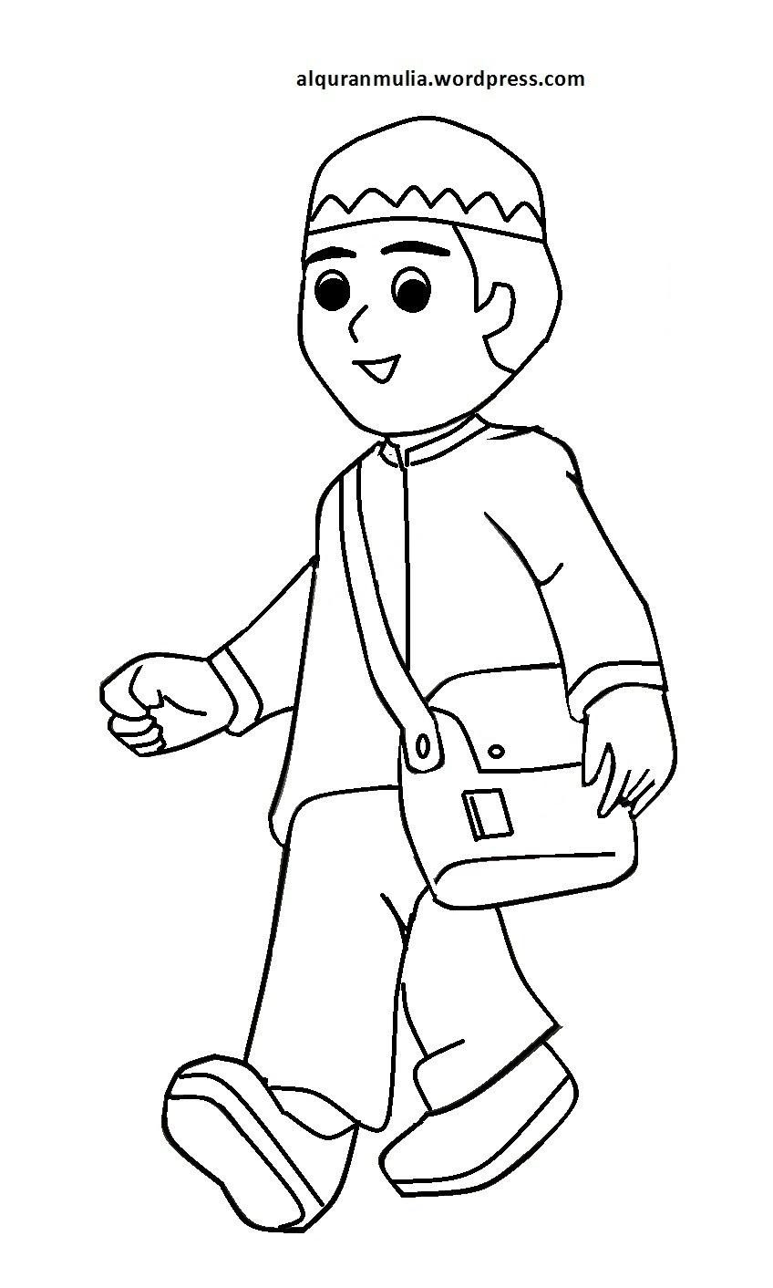 Mewarnai Gambar Mewarnai Gambar Sketsa Kartun Anak Muslim 35 Auto