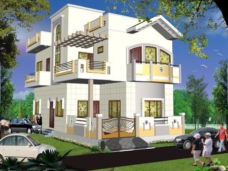 Boundary Wall Main Gate And Balcony And Exterior Elevation For