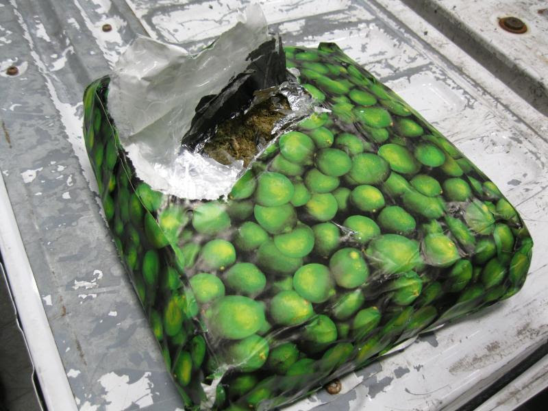 A lime image emblazoned package containing marijuana was part of a seizure of 2,575 pounds of marijuana realized by CBP officers at Pharr International Bridge