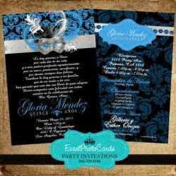 Masquerade Royal Blue Sweet Fifteen Invitations, Quinceanera