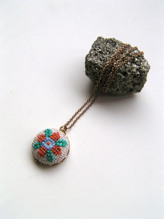Astral Drop Cross Stitched Pendant Necklace