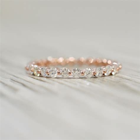 Single Prong Diamond Eternity band 1.00 cttw in Rose