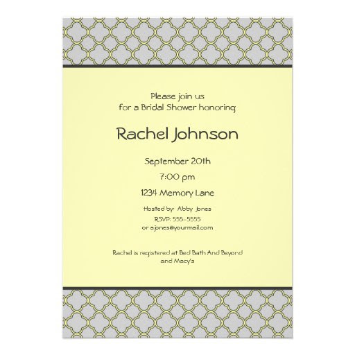 Yellow & Gray Bridal Shower Invitation