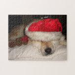 Cute akita dog santa hat cones asleep christmas puzzle