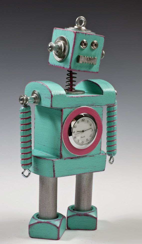 """Fun clock Reminds me of the Exhibition at Shelburne Museum this season called """"Time Machines: Robots, Rockets and Steam Punk."""" Very cool."""