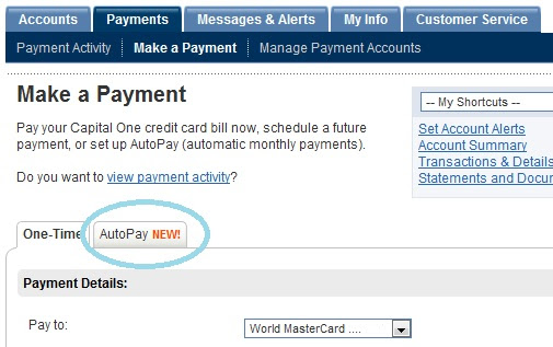 Capital One Credit Card Offers Auto Pay - 12million Personal