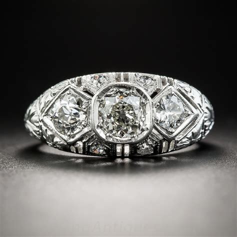 Art Deco Diamond Three Stone Ring   Everything   Vintage