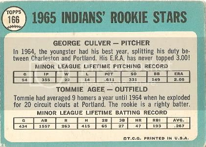 #166 Indians Rookie Stars: George Culver and Tommie Agee (back)