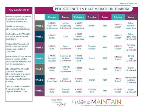 piyo  marathon training plan health fitness