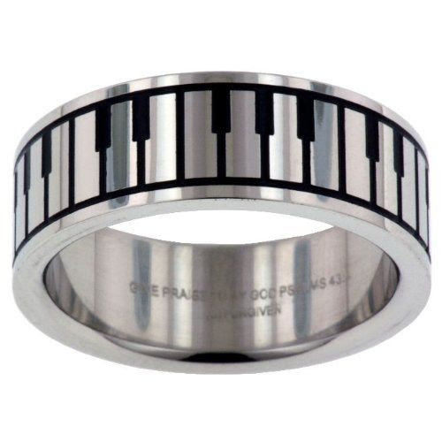 PLAY ME A TUNE RING: Music Keyboard Give Praise Band Stainless Steel Ring: Jewelry