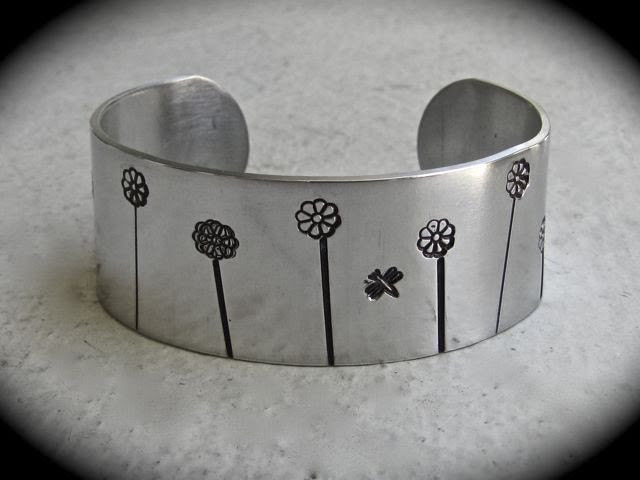 Happy Flower Garden Cuff in Aluminum with Daisies and Dragon Flies
