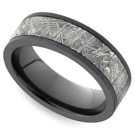 Flat Satin Men's Wedding Ring with Meteorite Inlay in