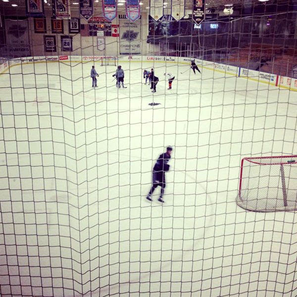 The Los Angeles Kings practice at their training facility in El Segundo on January 7, 2013.