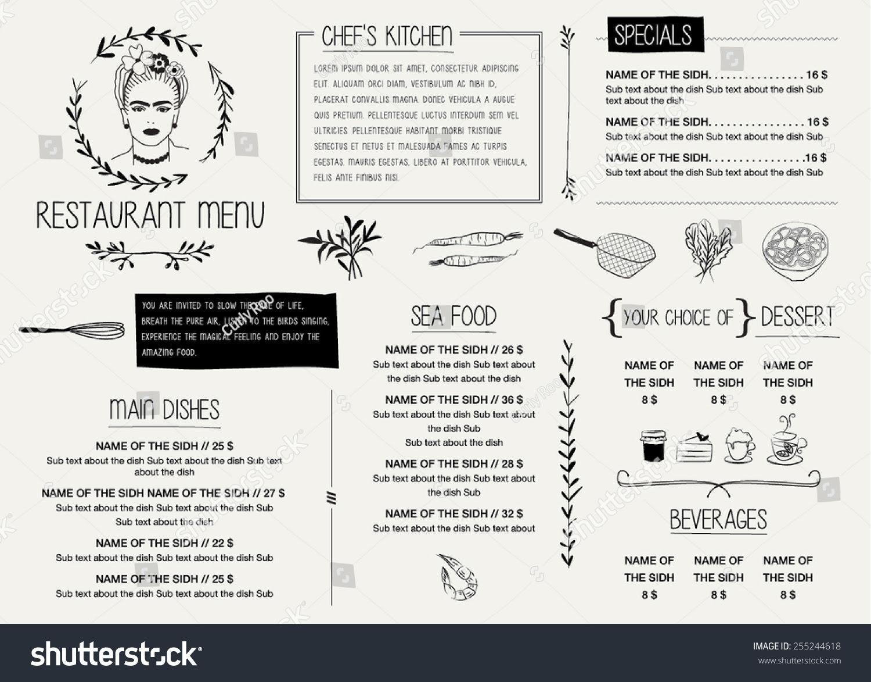 Restaurant Menu Template Vector Illustration File Stock Vector ...