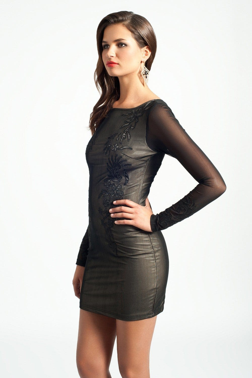 little mistress black sheer overlay bodycon dress