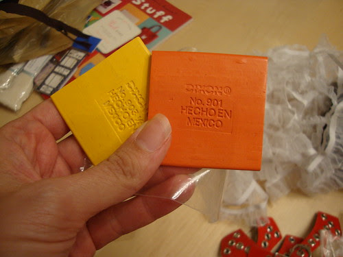 tailor's chalk in orange and yellow at Pacific Trimming