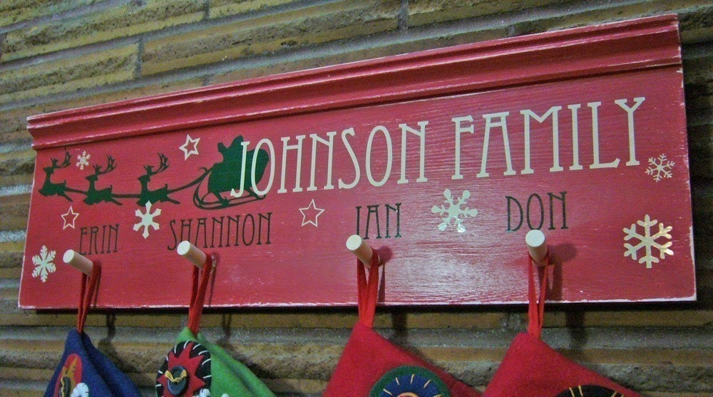 Christmas Stocking Hanger - Custom Family Name Wood Sign