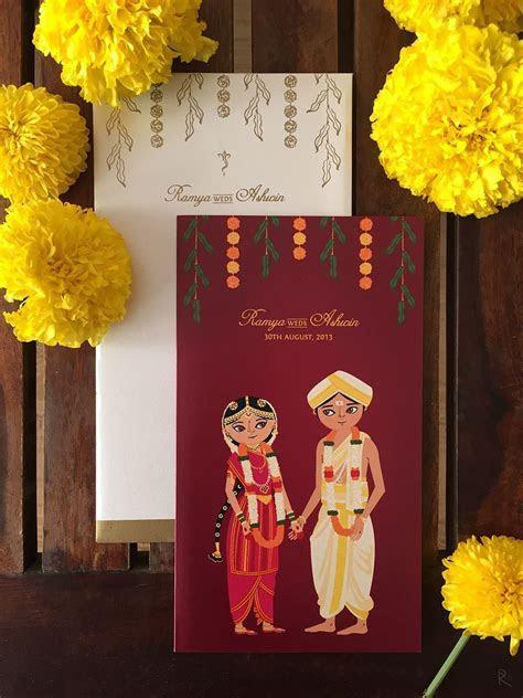 illustrated wedding invitations, cute indian wedding
