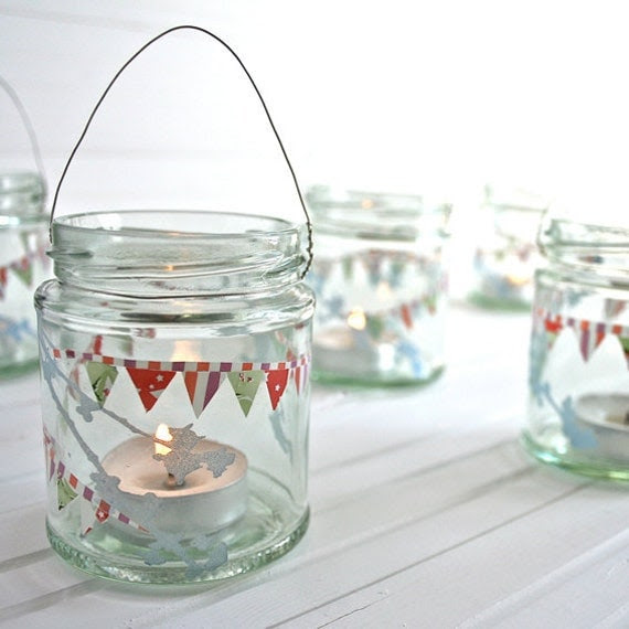 Blossom and Bunting Lanterns - set of three