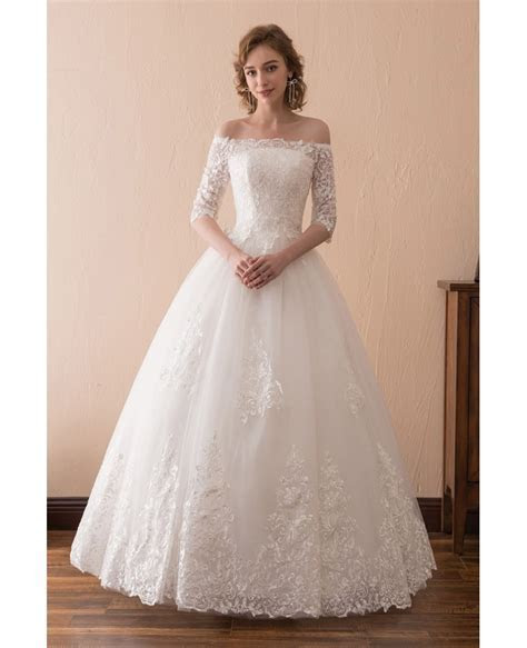 Off The Shoulder Lace Ballroom Wedding Dress With 1/2
