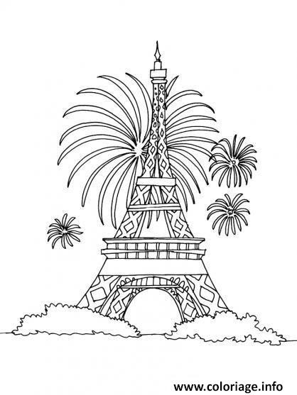 Coloriage Fete Nationale 14 Juillet France Tour Eiffel Jecoloriecom