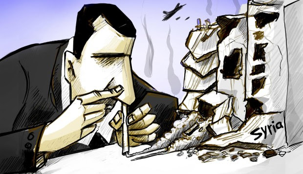 The cover image, by Amjad Wardeh, of a book called Art of Resistance: Collected Cartoons from the Syrian War features Syrian President Bashar al-Assad snorting building dust as if it were cocaine.