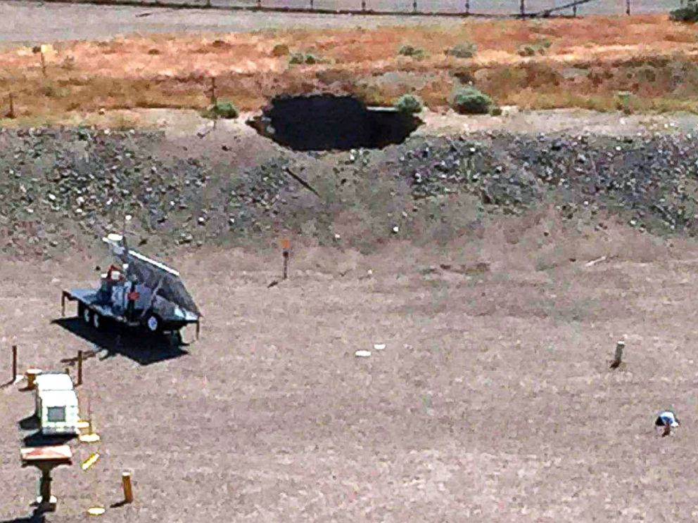 PHOTO: This image provided by the U.S. Department of Energy shows a 20-foot by 20-foot hole in the roof of a storage tunnel at the Hanford Nuclear Reservation near Richland, Wash., on May 9, 2017.