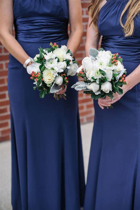 Long Navy Blue Bridesmaids Dresses   Bouquet Wedding Flower