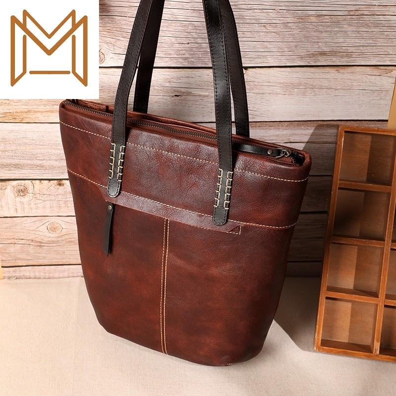 Recommended Bag Woman Genuine Leather Manual Woman Package Capacity Single Shoulder Handbag Cowhide Bucket Package