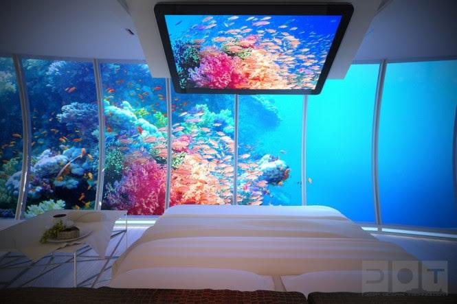 Underwater bedroom aquarium walls
