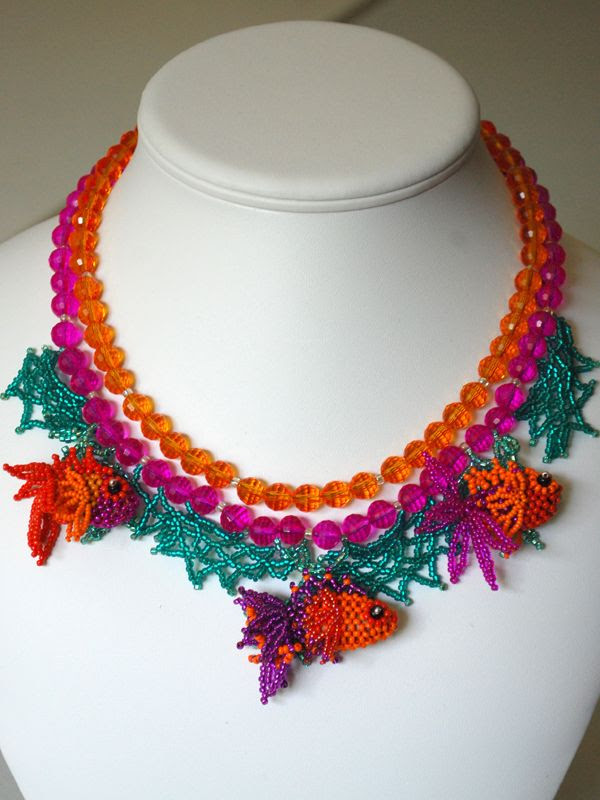 Fancy Fish necklace by Francie Broadie using her wonderful orange/fuschia/purple fish.