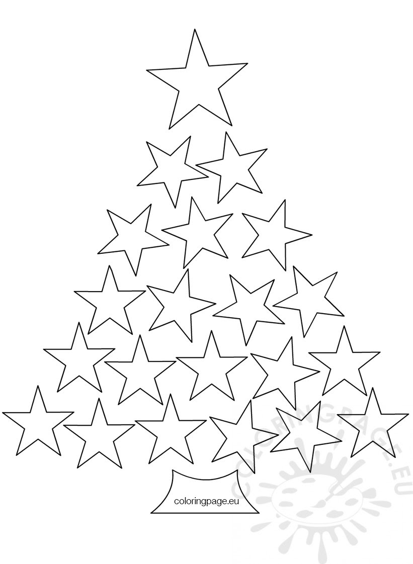 Christmas tree made of stars - Coloring Page