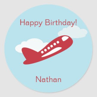 Airplane Birthday Cupcake Toppers/Stickers