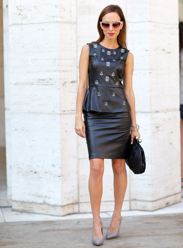 Sydne-Style-new-york-fashion-week-street-style-leather-on-leather-trend-bcbg-runway-show-pencil-skirt