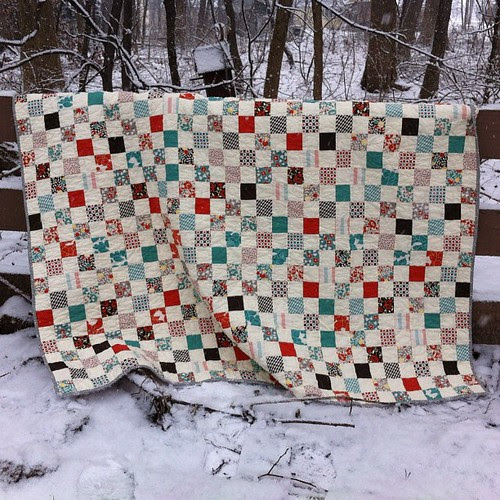 This snow isn't good for much but it does make a pretty quilt photo backdrop. This Hello Betty postage stamp went to my mother-in-law.
