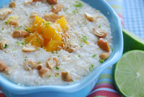 coconut lime rice pudding with mangoes and cashews