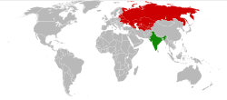 Map indicating location of India and USSR