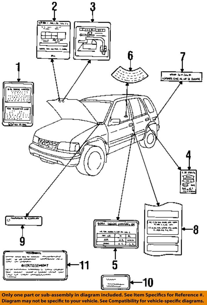 KIA OEM 1997 Sportage Labels-Vacuum Diagram 0K01G69A02 | eBay