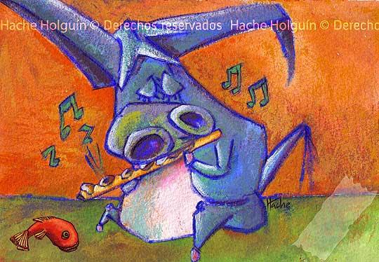 Ilustración de El burro Flautista por Hache Holguín