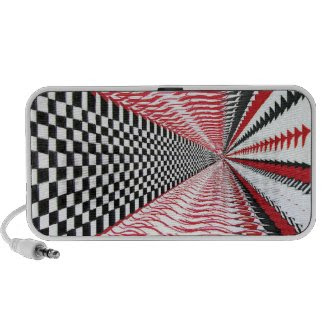 Doodle iPod Speaker, Abstract Red Black White Art doodle
