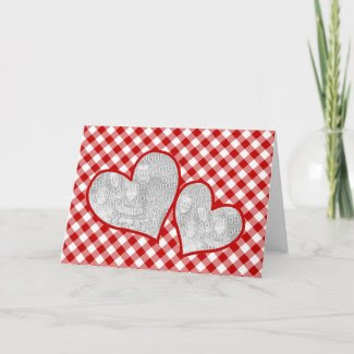 Double Heart Red Gingham Blank Photo Card card