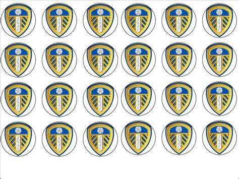24 Leeds United Football Club Edible Wafer Rice Cup Cake