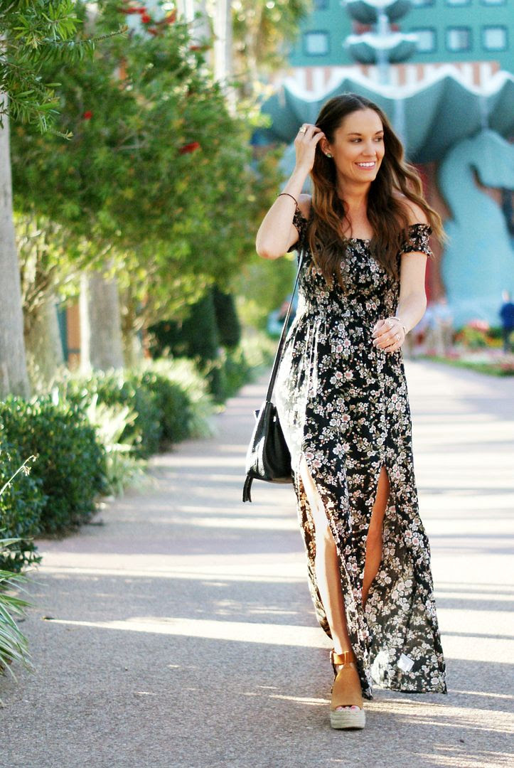 Spring floral maxi with Marc Fisher wedges