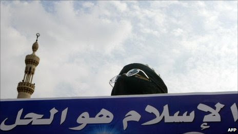 """Muslim Brotherhood supporter holds a banner saying: """"Islam is the solution"""" (2005)"""