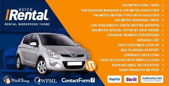 Quick Rental - Vehicles Booking WordPress  Theme - Travel Retail